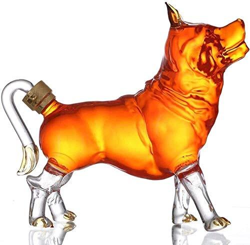 DXMRWJ Botella de Vidrio para Perros Decanter Creativity 1000ML Whisky Animal Shape High Boron Glass (Color: Predeterminado)