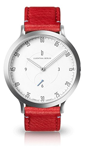 Lilienthal Berlin Unisex Armbanduhr L1 in Silber-Weiß mit rotem Lederarmband | Prämiertes Design | Qualität Made in Germany | Höchster L01-201-B005A