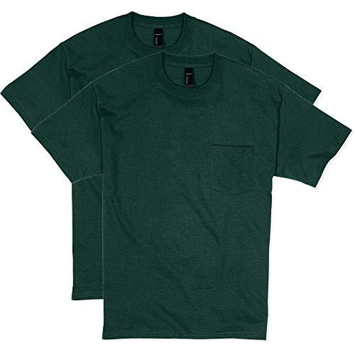 Hanes Men's 2 Pack Short Sleeve Pocket Beefy-T, Deep Forest, X-Large