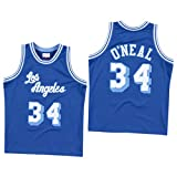 Los Angeles Lakers 34 # Shaquille O'Neal Jerseys de Baloncesto para hombre, Cool Mesh Transpirable Swingman Basketball Jerseys, 90s Hip Hop Ropa Deportiva, 123, azul, M