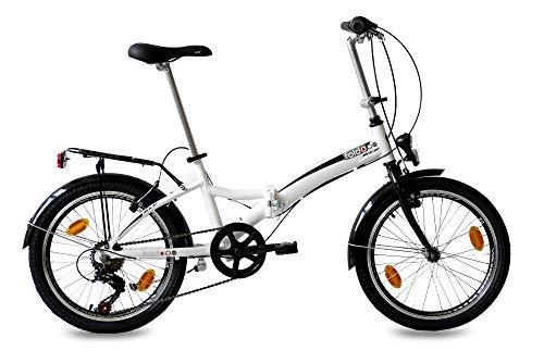 KCP 20' Folding Bike Alloy City Bike FOLDO 6 Speed Shimano Unisex White (w) - (20 Inch)