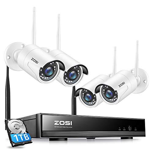 ZOSI 1080P Kit de Cámaras Seguridad Inalámbrico WiFi 8CH H.265+ Grabador NVR con 4x Cámara de Vigilancia Exterior, 1TB Disco Duro, Remoto P2P, Detección de Movimiento