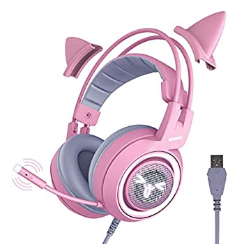 SOMIC G951pink Gaming Headset for PC PS4 Laptop  7.1 Virtual Surround Sound Detachable Cat Ear Headphones LED USB Lightweight Self-Adjusting Over Ear Headphones for Girlfriend Women