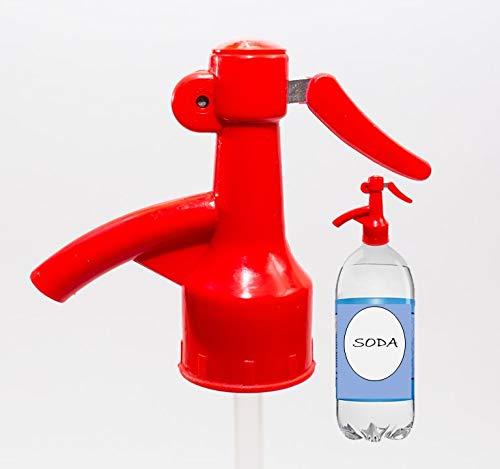 Sodafall fizz saver soda bottle dispenser for seltzer water/club soda/ soda pops/fizz keeper/better than soda siphon/works with 2 liter soda bottle (Red)