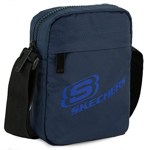 SKECHERS - Bolso con Bandolera Ajustable pequeña Unisex de Lona, práctica, cómoda, Ligera y Funcional. Ideal para Uso Diario S931, Color Azul Noche