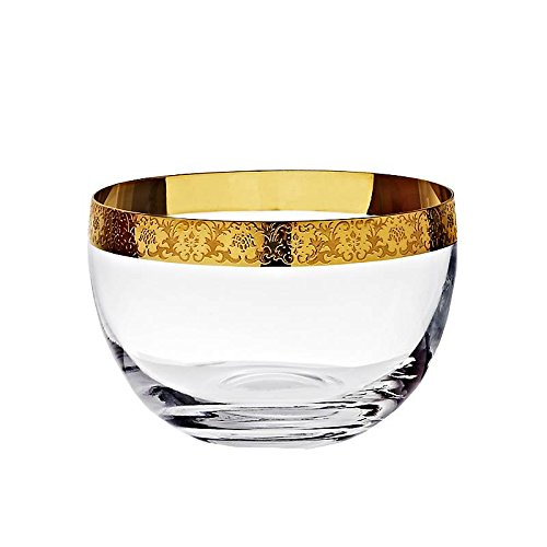 CRISTALICA Bol en Verre Gold Age 12 cm, Transparent/Or, Verre de Haute qualité, Style Moderne Kingdom Powered by