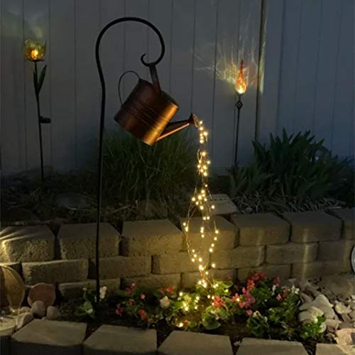 LUDAXUE Star Shower Garden Art LED Light with Stake Decoration Outdoor Gardening Lawn Lamp Solar Led Light Fairy Copper Wire Waterproof String Lights Vine Solar Watering Can Lights