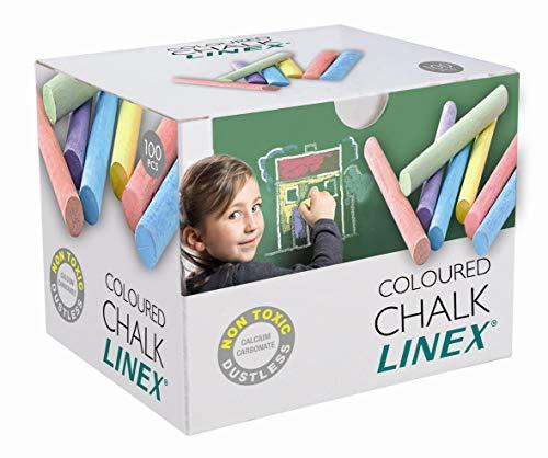 Linex 1004111032 - Lavagna a gesso senza polvere, 1 x 8 cm, 100 pezzi, colore: Multicolore