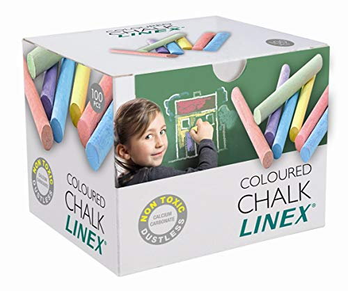 Linex 1004111032 Tafelkreide bunt 100 Stück in einem Paket Wandtafel-Kreide staubfrei