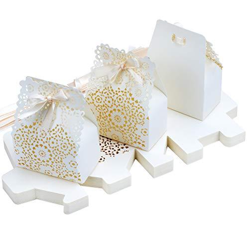 TsunNee Hohle Papier Süßigkeiten-Box, Blumen-Muster, Hochzeits-Gastgeschenk-Boxen, DIY Party Geschenk-Box, kreative Papier-Leckerli-Boxen, 30 Stück