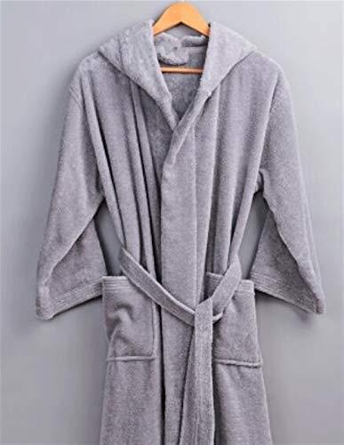HYSJLS Invierno túnica Gruesa Hombres Mujeres con Capucha Bobo Bordado algodón baño Suave Manga de Manga Ocasional Casual Homewear Suave Hombres (Color : Silver, Size : M)