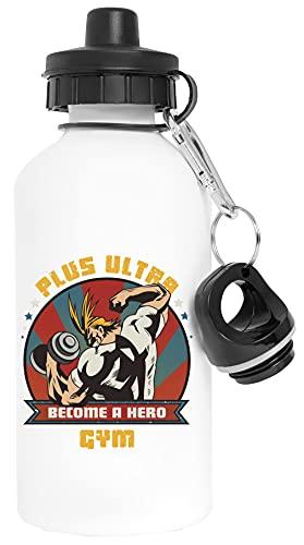 Plus Ultra Gym - Boku No Hero Academia Aluminio Blanco Botella de Agua Con Tapón de Rosca Aluminium White Water Bottle With Screw Cap
