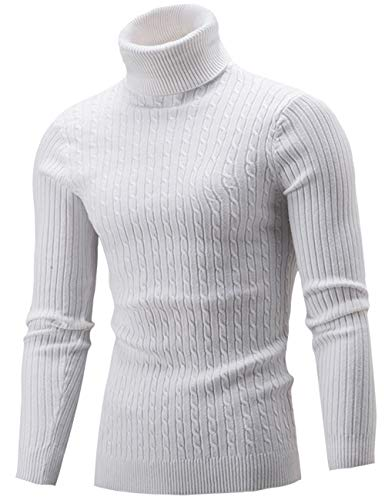 Pinkpum Maglione Dolcevita Uomo Manica Lunga con Colletto Stretto Bianco 1 M