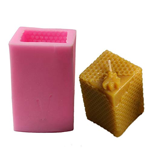 DLRBWAN Seifenbasis Neue DIY Mold Wabenkerze Silikonform 3D Quadratische Kerze Fondant Kuchen Dekoration Pudding Form Backen Dekoration Silikonform