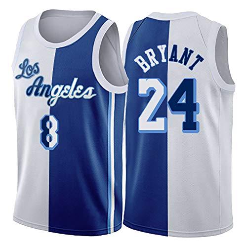 Black Mamba Lakers # 24# 8 Kobe Bryant Jersey para Hombres y Mujeres, Jerseys de Baloncesto Blanco Retro Azul, Fan Jersey Ropa de Entrenamiento Camiseta Regalo (XS- XS
