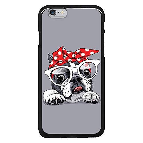 BJJ SHOP Funda Negra para [ iPhone 6 / iPhone 6s ], Carcasa de Silicona Flexible TPU, diseño: Bulldog Frances con Gafas y Lacito