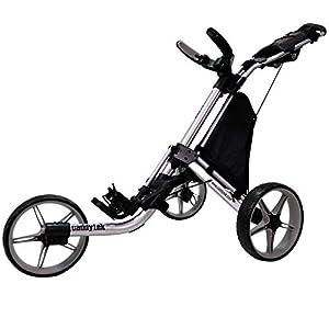 CaddyTek EZ Tour Quickfold Deluxe 3-Rad Golftrolley Golfcaddy faltbar komplett mit Kühltasche - Modell 2020 - Qualität vom Deutschen Fachhändler (Silver-Grey)