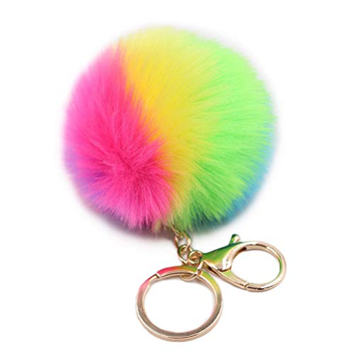 STOBOK Schlüsselanhänger Plüsch Ball Pompom Regenbogen Anhänger Geschenk Deko Schlüsselbund für Auto (Bunt)