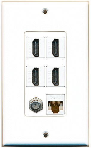 RiteAV - 4 Port HDMI 1 Coax Cable TV- F-Type 1 Cat6 Ethernet White Wall Plate Decorative