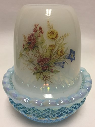 Glimmer Light Candle Fairy Lamp - Milk Glass w/Floral (Blue Opalescent Carnival)