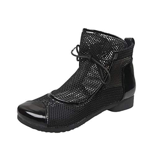 Damen Sandalen Schnürhalbschuhe Schnürung Schuhe Atmungsaktives Netz Blockabsatz Mode Sommer Outdoor Sandals Freizeitschuhe(1-Schwarz/Black,36)