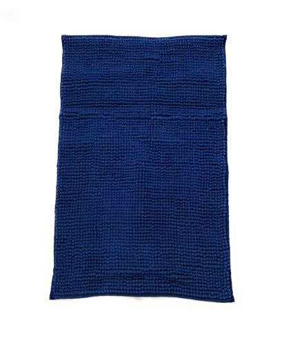 Trappeto Bagno Freddy 50x80 cm, col. Blu, 100% Morbida Microfibra, Fondo Antiscivolo, Assorbente, Lavabile in Lavatrice, Rapida Asciugatura