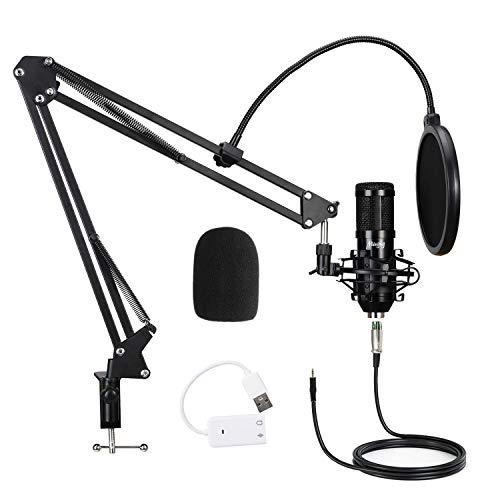 Mugig Kondensator Mikrofon Kit, Professionell Mikrofon Set mit mit Popschutz und Verstellbarem Mikrofonhalter, Mic Kit für Podcast, Aufnahme, PC, Gaming (3.5mm, schwarz)
