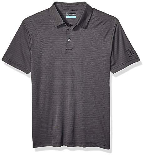 PGA TOUR Men's Short Sleeve Jaquard Polo Shirt, Two Tone Horizontal Caviar, L