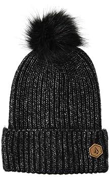 Volcom Women s Lula Faux Fur Pom Snow Beanie Black O/S