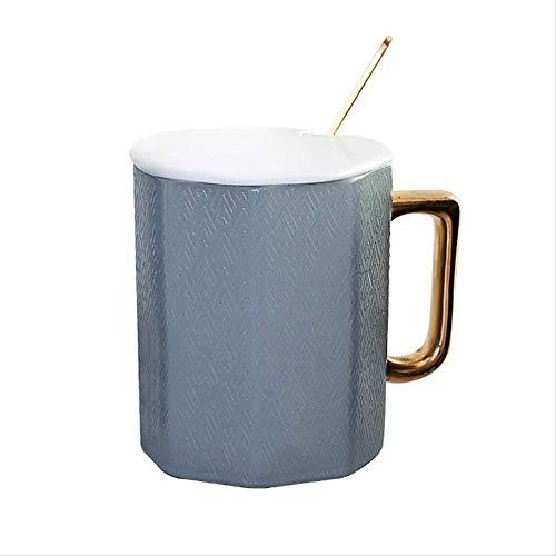 Mokken GJDBBLY Gold Polygon Keramische koffiemok met deksel en lepel Porselein Sap Drinkbeker Koffie Melk Theekop 8 * 9.8cm Grijs