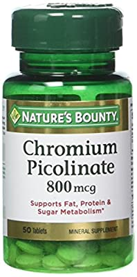 Nature's Bounty Mega Chromium Picolinate 800 mcg Tablets 50 ea (Pack of 3)