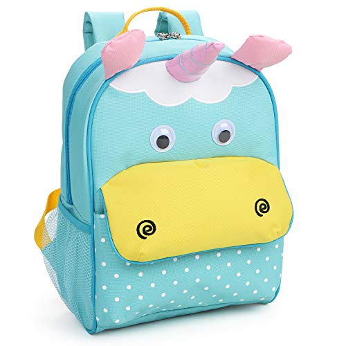 Yodo Little Kids School Bag Pre-K Toddler Backpack - Name Tag and Chest Strap, Unicorn