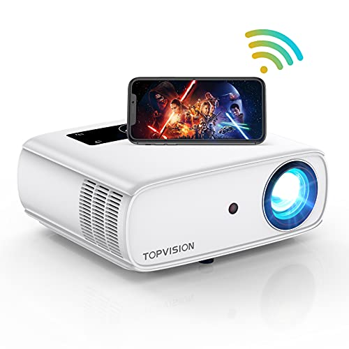 5G WiFi Projector, TOPVISION 8500L Native 1080P Video Projector, 4K Supported & 300' Bluetooth Movie Projector, Portable Outdoor Projectors Compatible with TV Stick, HDMI, AV, USB, PS4, Smart Phone