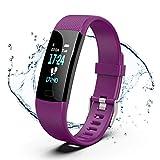 GetPlus Pulsera Inteligente Reloj Deportivo Mujer y Hombre Purpura - Monitor Actividad Fisica, GPS y Ritmo Cardiaco - Smartband Bluetooth Fitness Tracker Smartwatch Waterproof