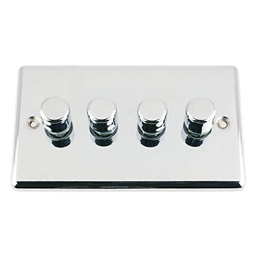 A5 DIM4GCCP4 gepolijst chroom klassieke licht dimmer schakelaar 400W-10 ampère Quad 4 bende 2 weg, 400 W, medium, set van 100 stuks