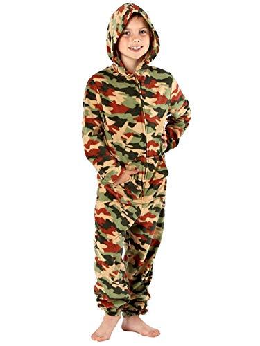 Tuta intera per ragazzi, mimetica in stile fumetto, con caldo cappuccio in micro pile, tasca da canguro sul davanti Green 8 anni