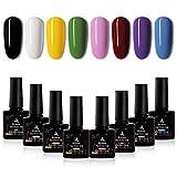 Esmalte Semipermanente, Biutee 8 Colores Pintauñas Semipermanente para Uñas, Kit Uñas Gel Esmalte de Uñas