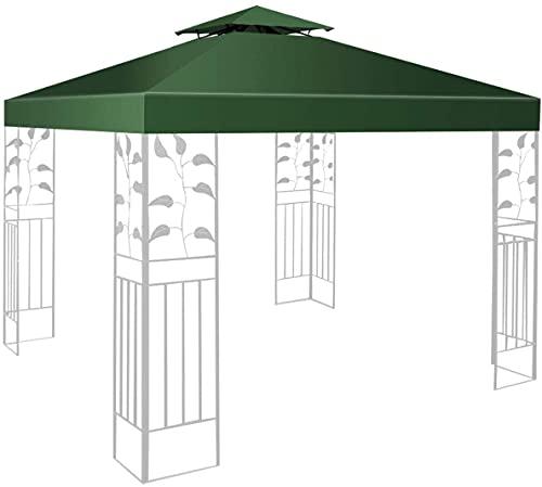 RELAX4LIFE Pavillondach Ersatzdach 3 x 3 m, Dach für Pavillion, Pavillonplane Wasserabweisend, Dachplane Kaminabzug, Doppeldach für Garten, Ersatzbezug Pavillonabdeckung, Partyzelt Plane (Dunkelgrün)