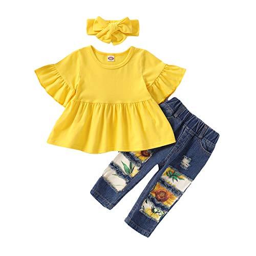 SANMIO Kleinkind Mädchen Kleidung Outfits, Mädchen Baby Blumen Jeans Hose Set Rüschen Langarm Kurzarm Outfits (Gelb-1, 2-3 Jahre)