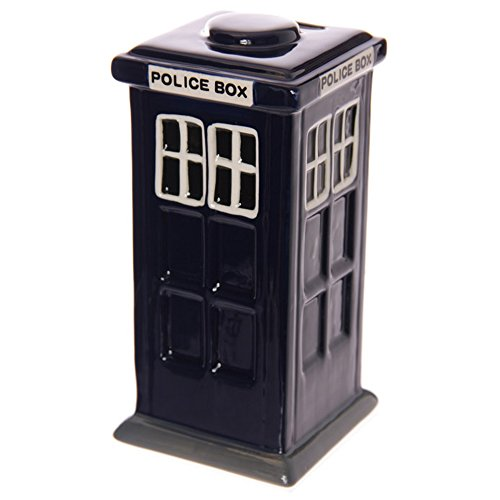 Puckator London Polizeibox aus Keramik, Motiv: Dr. Who Typ Bank, EIN Geschenk, gemischt, Höhe 17 cm, Breite 7 cm, Schlitz 3 cm
