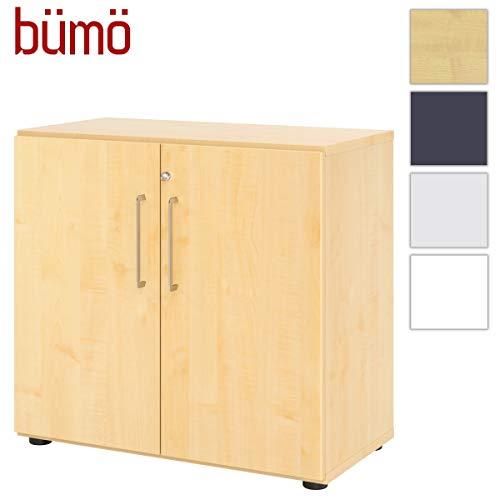 Bümö® Smart archiefkast afsluitbaar van hout | kantoorkast voor ordner| kantoor kastsysteem voor mappen | vleugeldeurkast incl. legplanken 2 Ordnerhöhen ahorn