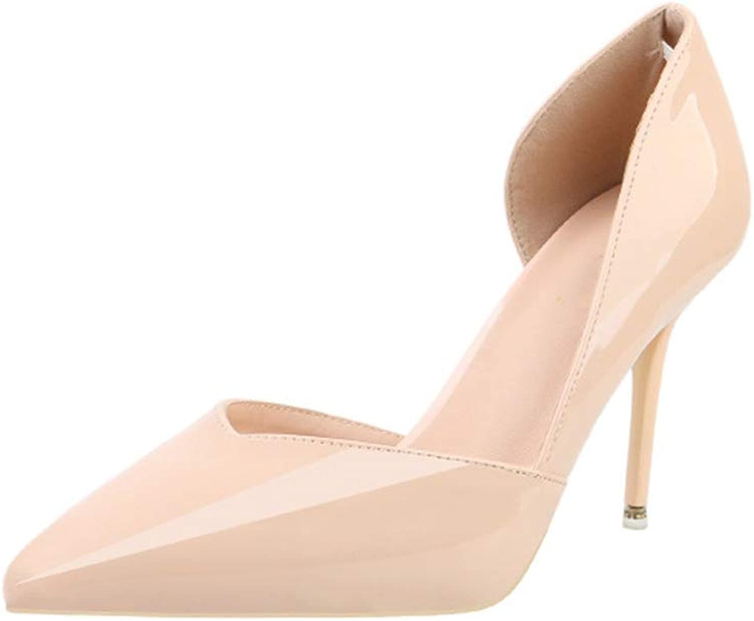 Sam Carle Womens Pump,Side Empty High Heel Pointed-Toe Solid color Work Pumps Daily shoes