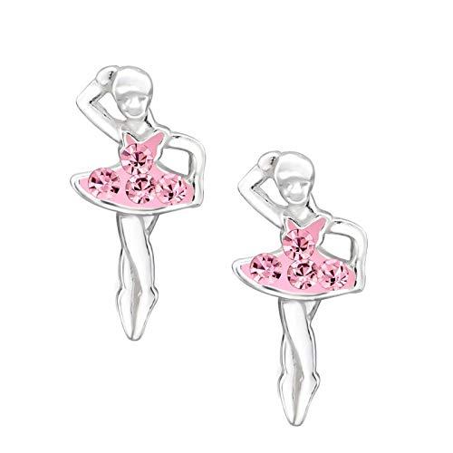 FIVE-D - Orecchini da bambina a ballerina, in argento Sterling 925, con custodia e Argento, colore: rosa., cod. SL-kinderohrstecker329-V