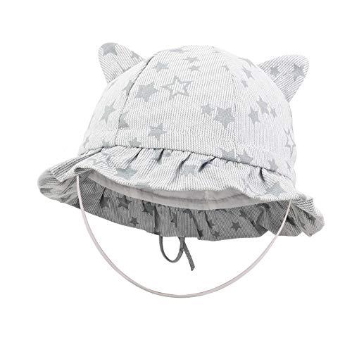Bebe Sombrero Verano Anti UV Pescador Gorra para niño niña 3-6 Meses, Hat con Linda Oreja de Gato Azul