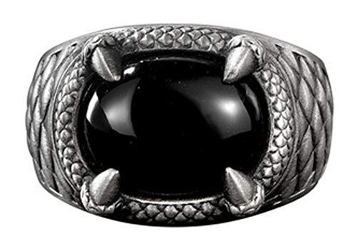 RXSHOUSH Anillo de plata S925 para hombre con piedras preciosas de ágata negra, anillo retro de garra de dragón, regalo dominante para hijo novio, tamaño 20 #