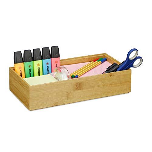 Relaxdays Ordnungsbox Bambus, stapelbar, natürliche Optik, Aufbewahrungsbox Küche, Bad, HxBxT: 7 x 30 x 15 cm, Natur, D