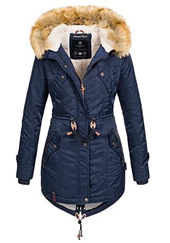 Navahoo warme Damen Winter Jacke Teddyfell Winterjacke Parka Mantel B399 [B399-LaViva-Navy-Gr.S]