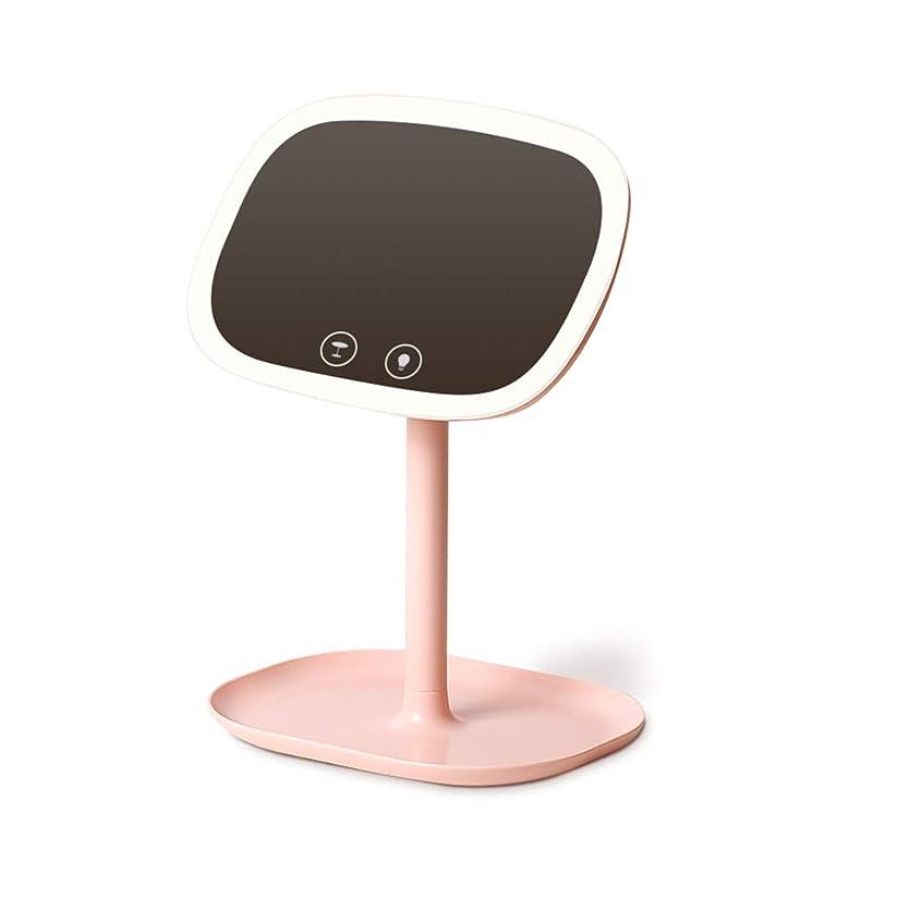 命題ドライバ傾向化粧鏡化粧鏡デスクトップ化粧鏡LEDタッチスクリーンスイッチ10倍拡大鏡360°ミラー調整可能化粧鏡 (Color : PINK, Size : 21*17*31CM)