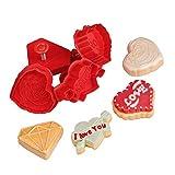 Crethink - Set di 4 stampi per biscotti a tema San Valentino, per goffratura, stampi per fondente, stampi in plastica, per biscotti, pasticceria, 3D, stampi per dolci
