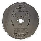 Wolfcraft 6276000 - Disco de sierra circular CV, 100 dient., serie azul Ø 190 x 20 x 2,4 mm